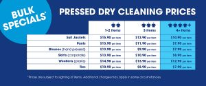 pressed dry Cleaner prices