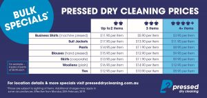 Wynnum Dry Cleaning prices